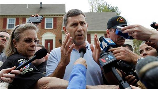 Ruslan Tsarni, the uncle of Boston Marathon bombing suspects Dzhokhar and Tamerlan Tsarnaev, speaks to the media outside his home in Montgomery Village, Md., Friday, April 19, 2013.