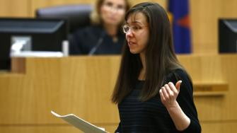 Jodi Arias addresses the jury on Tuesday, May 21, 2013 during the penalty phase of her murder trial at Maricopa County Superior Court in Phoenix, AZ.