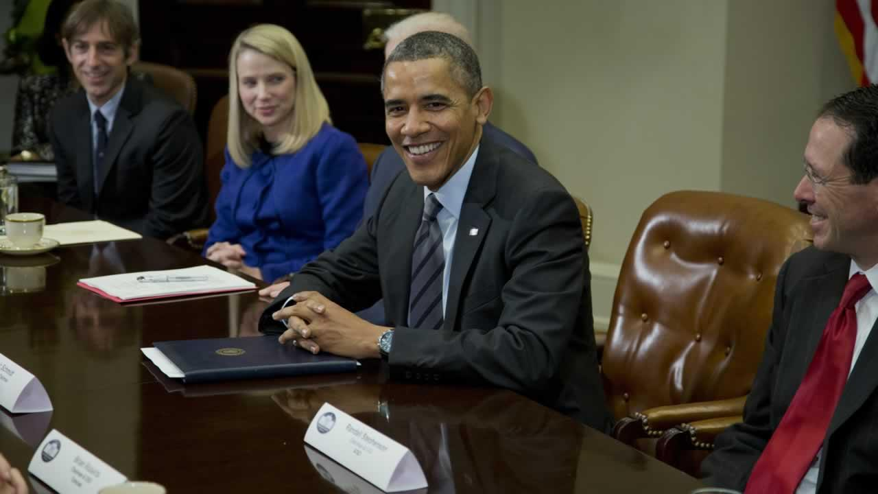 President Barack Obama meets with technology executives in the Roosevelt Room the White House in Washington.