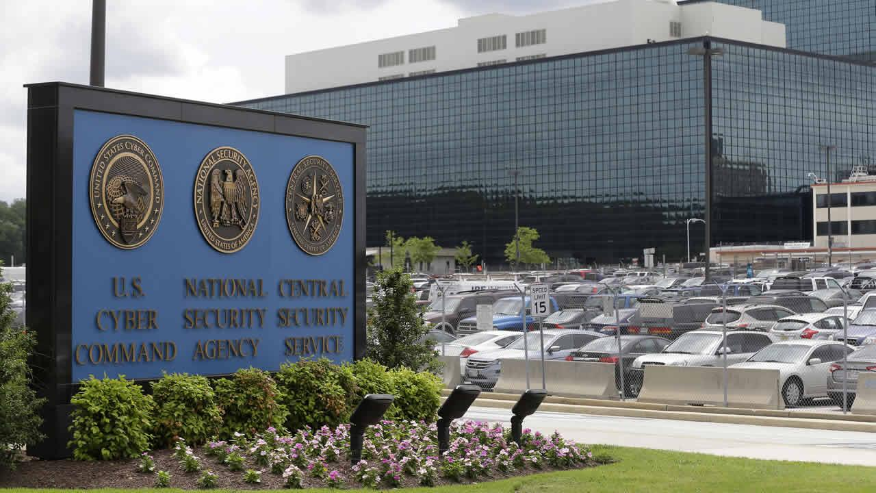 A sign stands outside the National Security Administration (NSA) campus in Fort Meade, Md., Thursday, June 6, 2013. (AP Photo/Patrick Semansky)