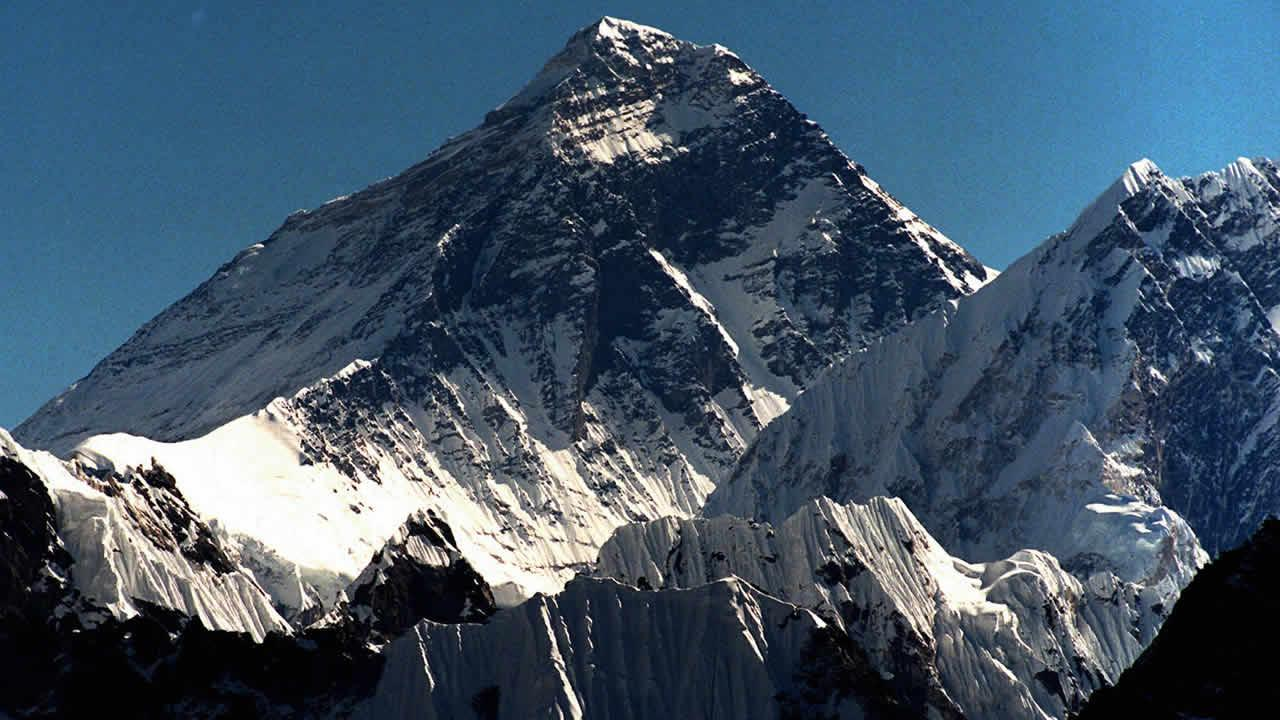 This is a October 1996 photo of Mount Everest (8.848m) seen from peak Gokyo Ri (5.431m) in Nepal