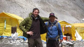 Sonoma County resident Jon Reiter and his Sherpa guide Dawa. Reiter credits him for pushing him out of harms way when an avalanche struck on Mount Everest.
