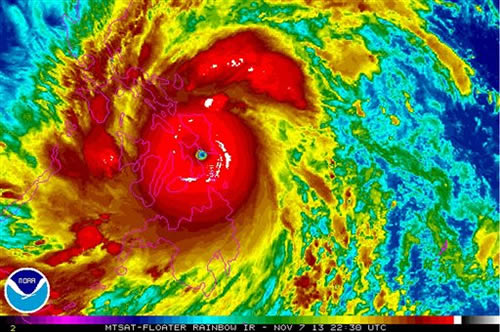This Thursday, Nov. 7, 2013 satellite image provided by the National Oceanic and Atmospheric Administration shows Typhoon Haiyan over the Philippines, at 22:30 UTC &#40;5:30 p.m. EST&#41;. Haiyan, the world&#39;s strongest typhoon of the year, slammed into the Philippines early Friday. It had been poised to be the strongest tropical cyclone ever recorded at landfall, a weather expert said. <span class=meta>(AP Photo&#47;NOAA)</span>