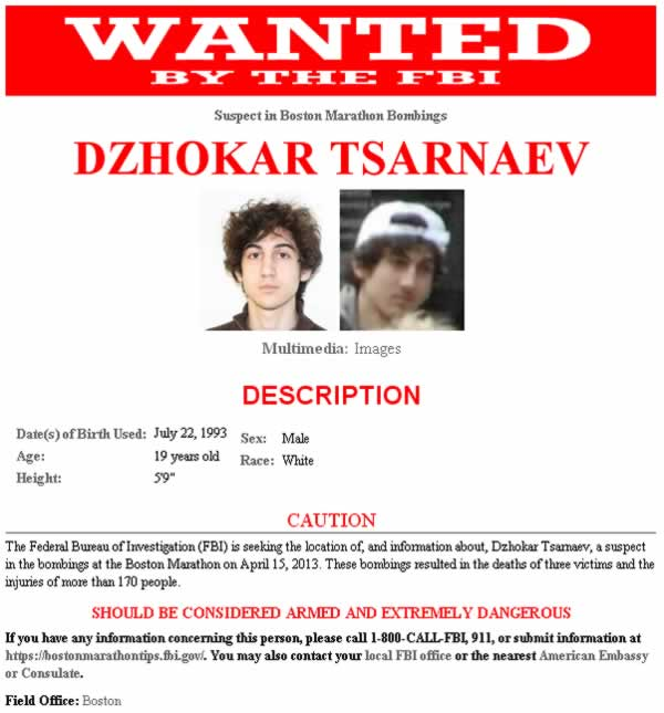 FBI wanted poster for Boston Marathon bombing suspect 19-year-old Dzhokar Tsarnaev. <span class=meta>(FBI)</span>