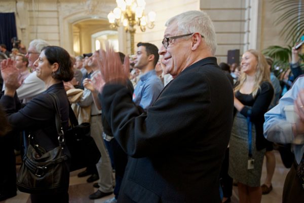 Activist Cleve Jones celebrates Wednesday's historic Supreme Court ruling on Proposition 8 at City Hall in San Francisco.