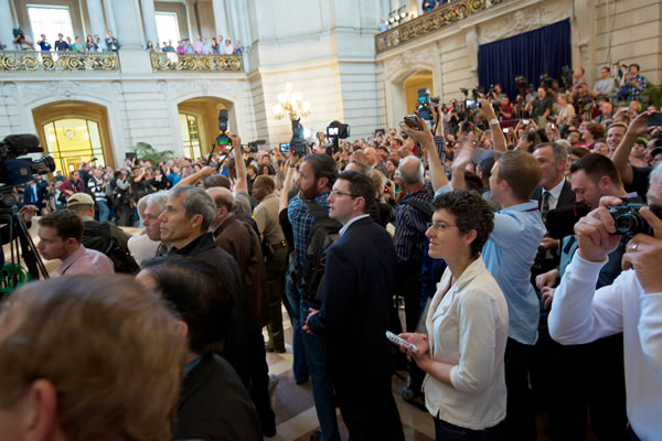 Crowd at City Hall awaiting U.S. Supreme Court decisions on same-sex marriage. <span class=meta>(Robert B. Stafford)</span>