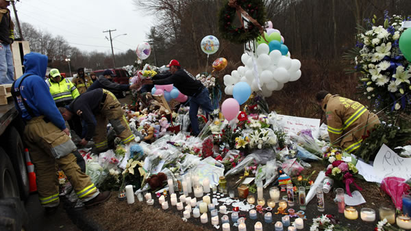 "<div class=""meta ""><span class=""caption-text "">Firefighters and other volunteers reorganize a memorial for shooting victims near Sandy Hook Elementary School before erecting a shelter over it, Sunday, Dec. 16, 2012 in Newtown, Conn. A gunman walked into Sandy Hook Elementary School in Newtown Friday and opened fire, killing 26 people, including 20 children. (AP Photo/Jason DeCrow)</span></div>"