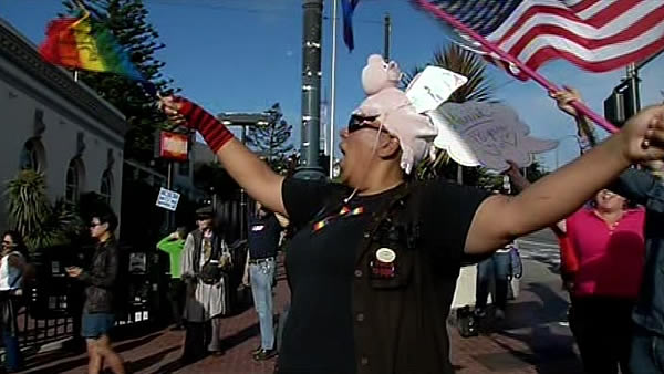 Same-sex marriage supporter celebrates  in San Francisco&#39;s Castro neighborhood after the Supreme Court&#39;s ruling on Proposition 8. <span class=meta>(KGO)</span>