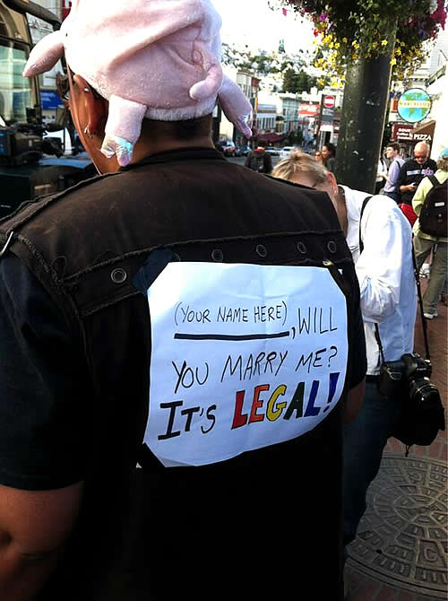 Same-sex marriage supporter walking through San Francisco&#39;s Castro neighborhood after the Supreme Court&#39;s ruling on Proposition 8. <span class=meta>(KGO)</span>