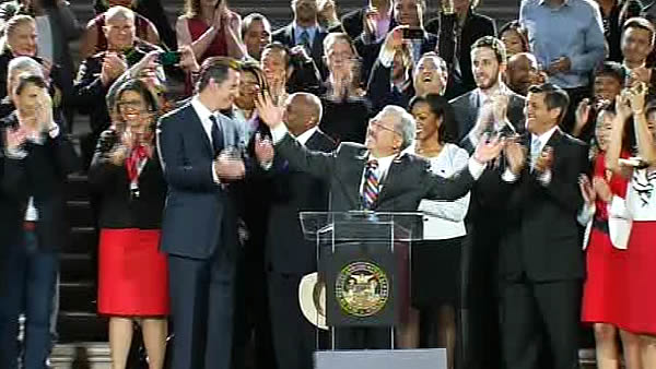 Mayor Ed Lee and supporters of gay marriage celebrate at City Hall in San Francisco after Proposition 8 ruling. <span class=meta>(KGO)</span>