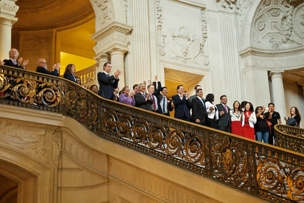 "<div class=""meta ""><span class=""caption-text "">Politicians react at San Francisco's City Hall after Supreme Court's ruling on Proposition 8. (Robert B. Stafford)</span></div>"