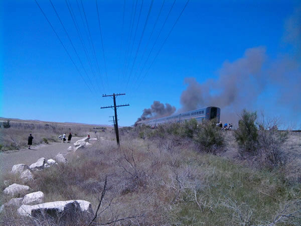 The California Zephyr was en route from Chicago to Emeryville, Calif. (Photo courtesy of KXTV viewer Jim Bickley)