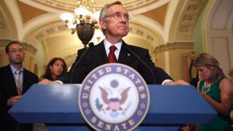 Senate Majority Leader Sen. Harry Reid of Nev. pauses during a news conference on Capitol Hill in Washington, Monday, Aug. 1, 2011, to talk about debt ceiling legislation. (AP Photo/Jacquelyn Martin)
