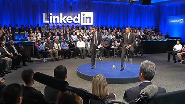 Obama holds town hall meeting at LinkedIn