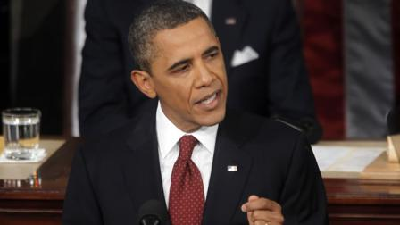 President Barack Obama gives State of the Union address on Capitol in Washington, Tuesday, Jan. 24, 2012.