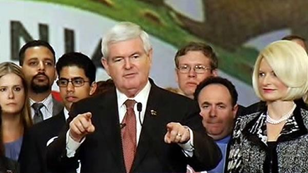 Newt Gingrich speaks to Republicans in Burlingame