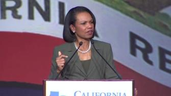 Former U.S. Secretary of State Condoleezza Rice spoke at the California Republican Partys convention in Burlingame.