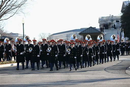 A band prepares to lead President Barack Obama&#39;s inaugural parade on Capitol Hill in Washington, Monday, Jan. 21, 2013, after the president&#39;s ceremonial swearing-in ceremony during the 57th Presidential Inauguration. <span class=meta>(AP Photo&#47;New York Times, Doug Mills, Pool)</span>