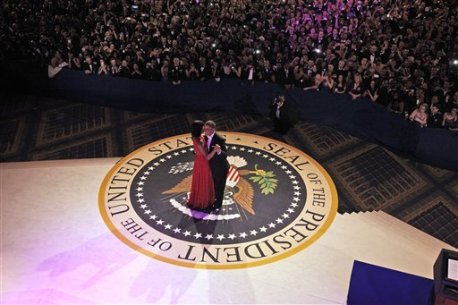 President Barack Obama and first lady Michelle Obama dance together at the Commander-in-Chief&#39;s Inaugural Ball in Washington, at the Washington Convention Center during the 57th Presidential Inauguration on Monday, Jan. 21, 2013. <span class=meta>(AP Photo&#47;Pablo Martinez Monsivais)</span>