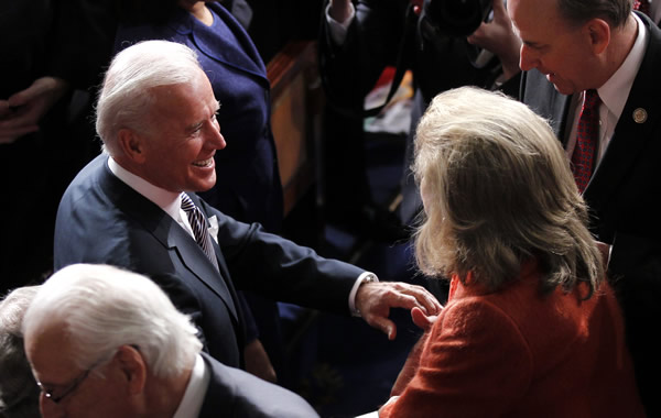 Vice President Joe Biden is greeted on Capitol Hill in Washington, Tuesday, Jan. 24, 2012 prior to the start of President Barack Obama&#39;s State of the Union address. <span class=meta>(AP Photo - Pablo Martinez Monsivais)</span>