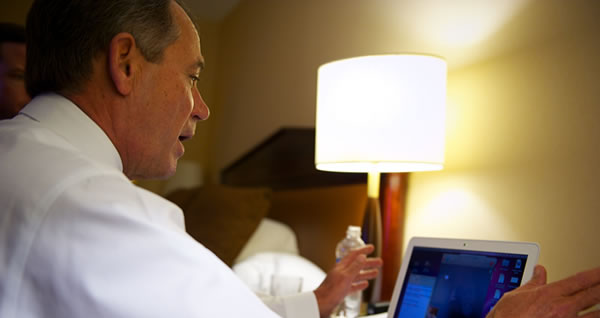 Picture of John Boehner doing his second Skype call, this one for Ohio Republican Party volunteers in Columbus.