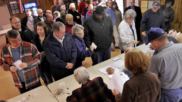 The crowd was large as doors opened for voters Tuesday, November 6, 2012, Election Day, at Scotland Community Center, Scotland, Pa. (AP Photo/Public Opinion, Markell DeLoatch)