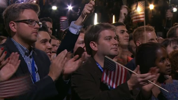 A crowd listens to President Obama&#39;s victory speech. <span class=meta>(KGO)</span>