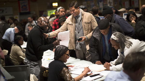 "<div class=""meta ""><span class=""caption-text "">Voters wait for their chance to cast a ballot at P.S. 33 in the Chelsea neighborhood of Manhattan, Tuesday, Nov. 6, 2012, in New York. Voting in a the U.S. presidential election was the latest challenge for the hundreds of thousands of people in the New York-New Jersey area still affected by Superstorm Sandy, as they struggled to get to non-damaged polling places to cast their ballots in one of the tightest elections in recent history. (AP Photo/ John Minchillo)</span></div>"
