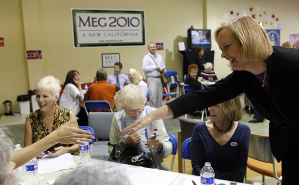 "<div class=""meta image-caption""><div class=""origin-logo origin-image ""><span></span></div><span class=""caption-text"">Republican California gubernatorial candidate Meg Whitman, right, thanks her supporters at the Pasadena Republican headquarters in Pasadena, Calif. on Tuesday, Nov. 2, 2010. The former CEO of eBay poured more than $150 million of her own money into the campaign, making it the most expensive non presidential race in the nation's history. (AP Photo/Damian Dovarganes)   </span></div>"