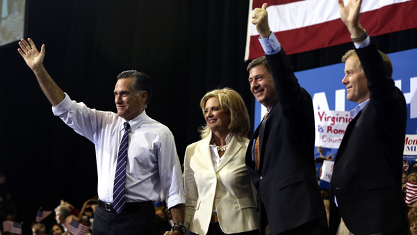 Republican presidential candidate and former Massachusetts Gov. Mitt Romney stands on stage with his wife Ann Romney, Virginia Republican Senate candidate George Allen, and Virginia Gov. Bob McDonnell, right, at a campaign rally at The Patriot Center at George Mason University in Fairfax, Va., Monday, Nov. 5, 2012. (AP Photo/Charles Dharapak)
