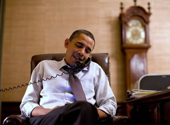 In this image released by the White House, President Barack Obama makes an election night phone call to Rep. John Boehner, R-Ohio, who will most likely be the next House Speaker, from the Treaty Room in the White House residence, Tuesday, Nov. 2, 2010, in Washington. (AP Photo/The White House, Pete Souza)