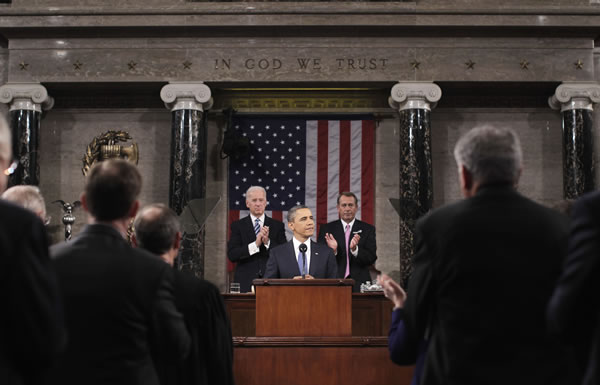 "<div class=""meta ""><span class=""caption-text "">President Barack Obama delivers his State of the Union address on Capitol Hill in Washington, Tuesday, Jan. 25, 2011. Vice President Joe Biden and House Speaker John Boehner of Ohio applaud at rear. (AP Photo/Pablo Martinez Monsivias, Pool)</span></div>"