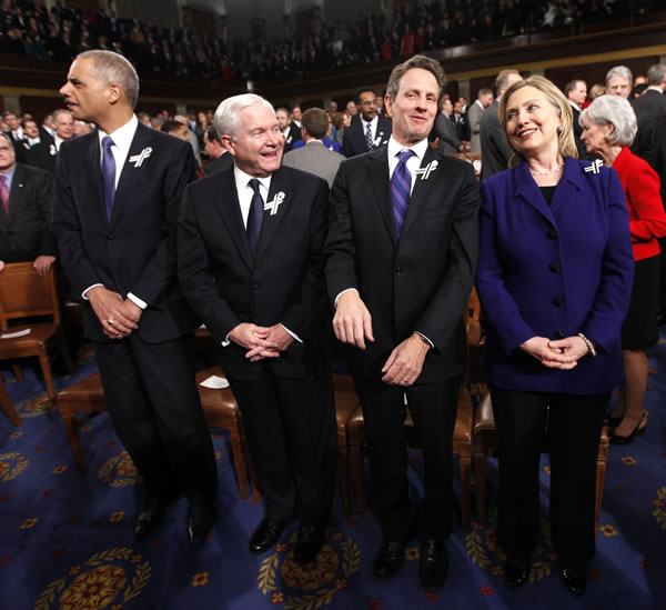 "<div class=""meta ""><span class=""caption-text "">Members of President Barack Obama's Cabinet, from left, Attorney General Eric Holder, Defense Secretary Robert Gates, Treasury Secretary Timothy Geithner and Secretary of State Hillary Rodham Clinton are seen on Capitol Hill in Washington, Tuesday, Jan, 25, 2011, prior to the start of the president's State of the Union address. (AP Photo/Pablo Martinez Monsivais, Pool)</span></div>"