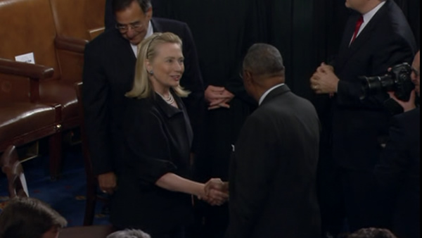Hillary Clinton, Tuesday, Jan. 24, 2012 prior to the start of President Barack Obama's State of the Union address.