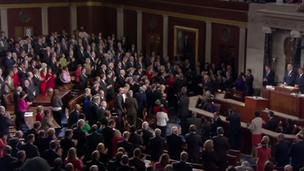 Retiring Rep. Gabrielle Giffords, D-Ariz., receives standing ovation at State of the Union address Tuesday, Jan. 24, 2012, on Capitol Hill in Washington.