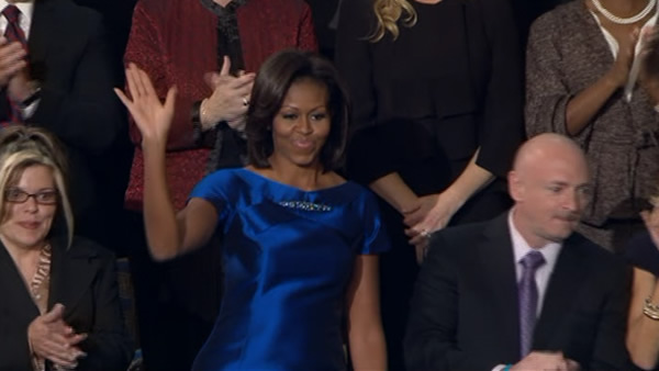 "<div class=""meta ""><span class=""caption-text "">Michelle Obama, Tuesday, Jan. 24, 2012 prior to the start of President Barack Obama's State of the Union address.</span></div>"