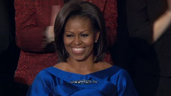 Michelle Obama, Tuesday, Jan. 24, 2012 prior to the start of President Barack Obama's State of the Union address.