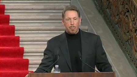 Oracle CEO Larry Ellison makes an Americas Cup announcement.
