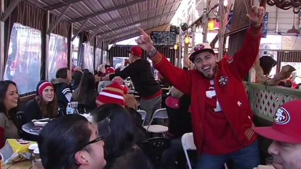 Fans celebrates SF 49ers' big win over Panthers