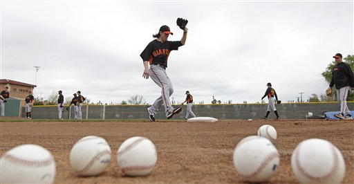 San Francisco Giants&#39; Tim Lincecum takes a throw during a spring training baseball workout on Sunday, Feb. 19, 2012, in Scottsdale, Ariz. <span class=meta>(AP Photo&#47;Darron Cummings)</span>