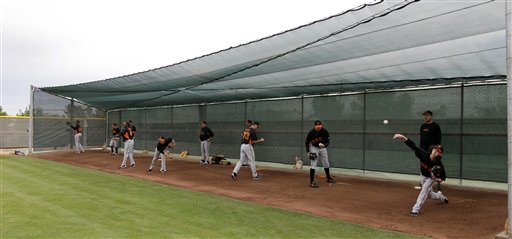 San Francisco Giants pitchers throw during a spring training baseball workout on Sunday, Feb. 19, 2012, in Scottsdale, Ariz.  <span class=meta>(AP Photo&#47;Darron Cummings)</span>