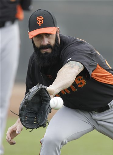 San Francisco Giants&#39; Brian Wilson during a spring training baseball workout Sunday, Feb. 19, 2012, in Scottsdale, Ariz. <span class=meta>(AP Photo&#47;Darron Cummings)</span>