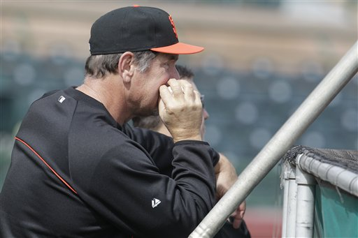 San Francisco Giants manager Bruce Bochy during a spring training baseball workout Sunday, Feb. 19, 2012, in Scottsdale, Ariz. <span class=meta>(AP Photo&#47;Darron Cummings)</span>