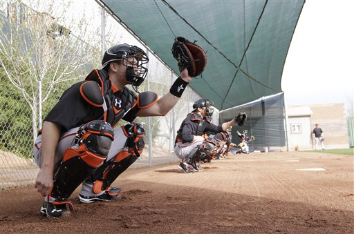 San Francisco Giants&#39; Buster Posey during a spring training baseball workout Sunday, Feb. 19, 2012, in Scottsdale, Ariz <span class=meta>(AP Photo&#47;Darron Cummings)</span>