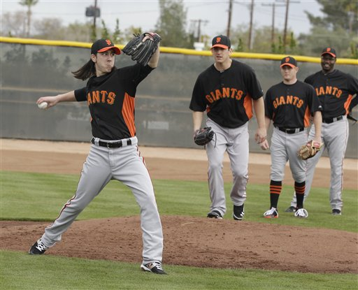 San Francisco Giants&#39; Tim Lincecum during a spring training baseball workout Sunday, Feb. 19, 2012, in Scottsdale, Ariz <span class=meta>(AP Photo&#47;Darron Cummings)</span>