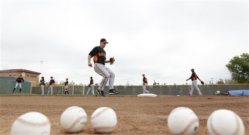 San Francisco Giants&#39; Austin Fleet during a spring training baseball workout Sunday, Feb. 19, 2012, in Scottsdale, Ariz. <span class=meta>(AP Photo&#47;Darron Cummings)</span>