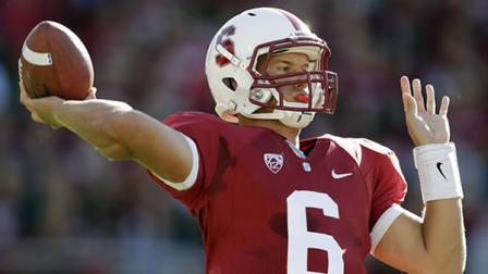 Stanford quarterback Josh Nunes (6) throws against Southern California during the first half of an NCAA college football game in Stanford, Calif., Saturday, Sept. 15, 2012. (AP Photo/Marcio Jose Sanchez)