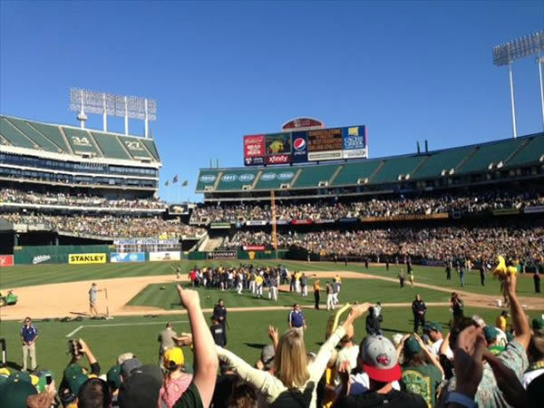 The Oakland Athletics averaged about 22,000 fans per game in the regular season.  In the playoffs, some of the tarps will come off and 48,000 loud and proud green and gold supporters will fill the coliseum.  If you&#39;re a proud A&#39;s fan send us your photos and you could be on TV!  uReport@kgo-tv.com <span class=meta>(KGO Photo&#47; submitted via uReport)</span>