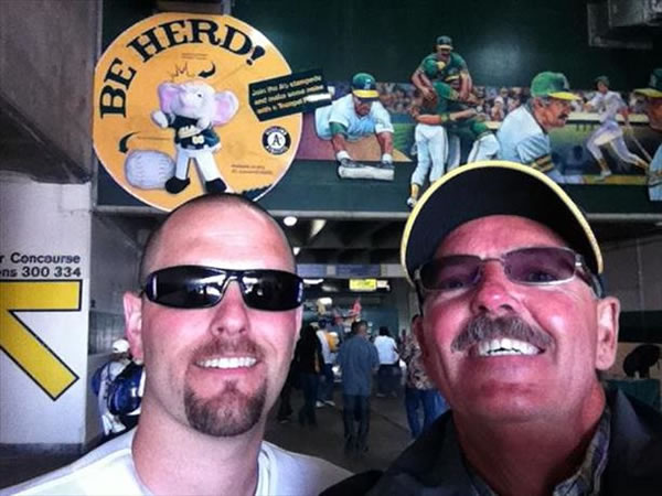 Son &#40;James&#41; surprises Dad &#40;Paul&#41; with game tickets and a vintage shirt.  It&#39;s been 20 years since their last Father&#47;Son game. What a surprise!  If you&#39;re a proud Oakland A&#39;s fan send your photos to uReport@kgo-tv.com and they could be featured on TV! <span class=meta>(KGO Photo&#47; submitted via uReport)</span>