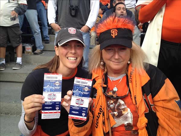Giants fans with at 2012 World Series, Game 1 (Submitted via uReport).